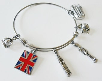 British Charm Bracelet -  London Bangle - UK Flag Gift - Union Jack British Charm Bracelet