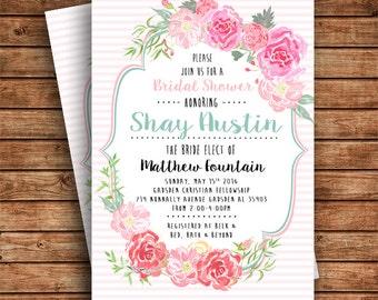 Digital file Floral bridal shower invitation
