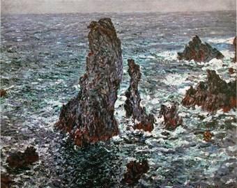 Impressionism. Claude Monet. Cliffs at Belle-Ile. Painting. Fine art. Picture. Landscape. Printer copy.