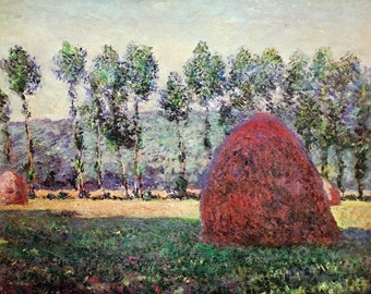 Impressionism. Claude Monet. Haystacks near Giverny. Painting. Fine art. Picture. Landscape. Printer copy.