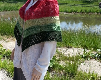 The Perfect Shawl & Shrug WATERMELON Hues Fiber blend of Alpaca Mohair Shetland Creates Fun Look to Mix with Any Outfit
