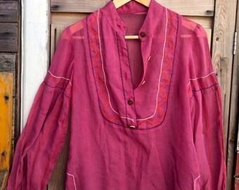 Violet Mauve Gauze Embroidered Blouse