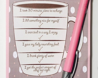 My Daily Cup Notepad, Self-Care Checklist