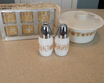 Pyrex Butterfly Gold Napkin Rings, Butter Dish, Salt and Pepper Shakers