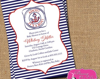 Baby Shower Boy Nautical Ahoy Invitations PRINTED with envelopes