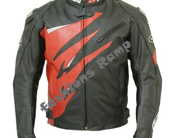 Black Leather Jacket Men's Bikers motorcycle tailor made