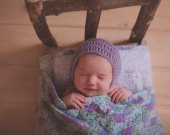 Mohair Newborn Baby Infant Bonnet many colors available photography photo prop crochet girl boy