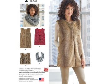 Simplicity Pattern  8219 Misses' Lined Vest in Three Lengths and Scarf