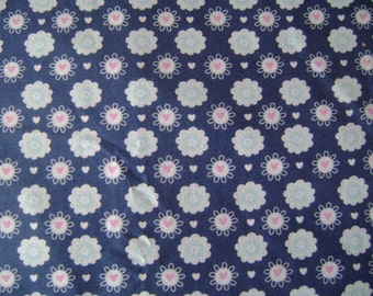Blue Floral Cotton Fabric Sold by the yard