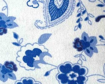 Princess Blue Paisley Floral Flannel Fabric (1 yard 21 inches)