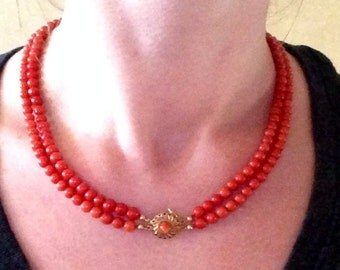 18k Antique TOMATO RED substantial coral European two strand necklace