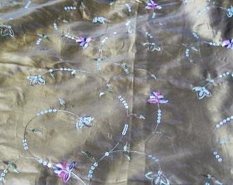 """Beautiful Embroidered Olive Green Silk Taffeta - 60"""" W x 56"""" L"""
