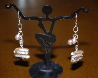 Helen of Troy Style Biwa Drop Earrings Sterling Silver Freshwater Pearl & Biwa Earrings