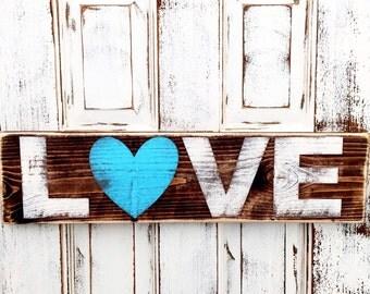 LOVE Artwork - Painted Wood Art - Rustic Wooden Sign