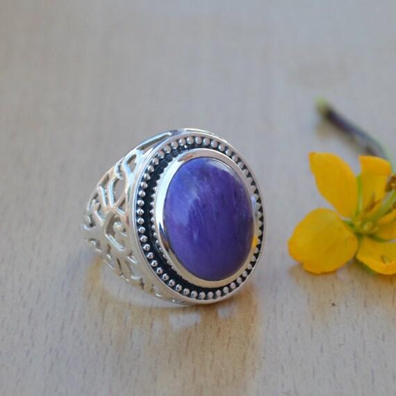 AAA Charoite Ring - Stunning Charoite Sterling Silver Ring - Siberian Charoite - Genuine Purple Charoite Ring - Purple Charoite Ring Size 9