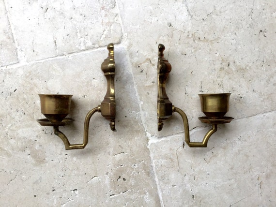 Vintage Pair Brass Candle Holder Wall Decor Wall Sconces Wall