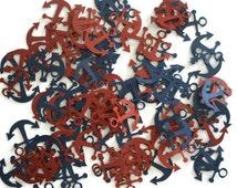100 Pieces Anchor Confetti - Nautical Confetti - Baby Shower Confetti - Wedding Confetti - Table Decoration - Red Confetti - Blue Confetti