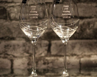 Personalised Dartington Glitz Wine Glass Gift Set - Ideal Gift For Weddings, Birthdays, Anniversaries and more!