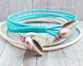 Bracelet leather, Sea Blue , shell, white