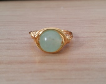 Natural Stone Mint Jade Handmade Wire Wrapped Ring