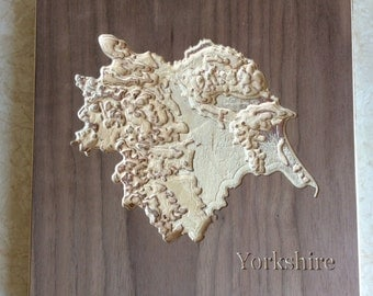 Wooden Wall Map of Yorkshire. Carved Topographical Wooden Map Made with Birch Plywood and Wood Wax - Wooden map - Carved map