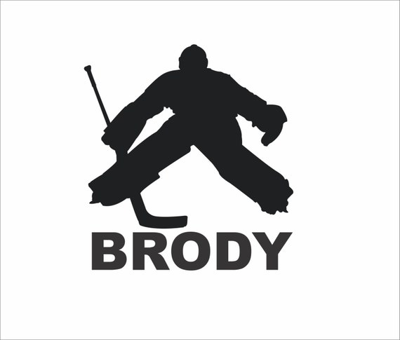 Hockey Wall Decal Large Decal Custom Name Decal Boys: Personalized Hockey Goalie With Your Childs Name Wall Decal