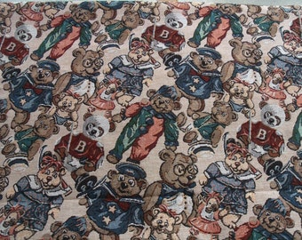 Fabric Upholestry Tapestry Look Teddy Bears 2 yards