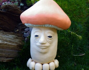 Mushroom, Mushroom Man, Polymer Clay Figurine, Clay Sculpture, Fantasy Figurine
