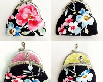 coin purse change purse credit card purse black pink green floral 020