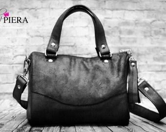 barrel bag, real leather, black, gunmetal, suede, handbag, purse, leather