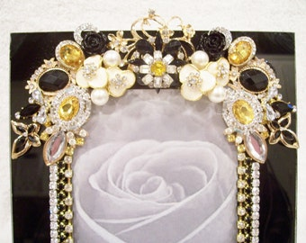 Jeweled Black Glass Photo Frame Designed with Vintage Jewelry, New Jewelry and Rhinestones. Perfect gift for any Occasion.