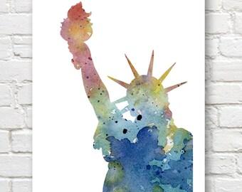 Statue Of Liberty Art Print - New York - Watercolor painting  -  Art Wall Decor