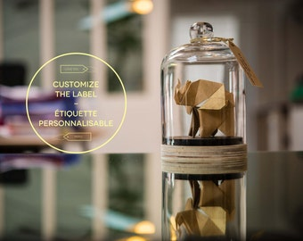 CUSTOMIZED LABEL - Sculpture origami elephant Glass Bell, washi gold paper. First Wedding Anniversary. Curiosities. Taxidermy. PREORDER