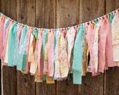 Pink Yellow Turquoise Shabby Chic Rag Tie Garland-Fabric Garland-Tassel Garland-Lace Floral Garland-Bridal Shower Decor-Baby Shower Decor
