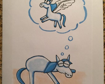 """Raise Money for a Cause: """"Believe"""" Pony cartoon greeting card"""