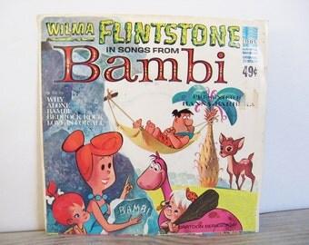 Wilma Flintstone in Songs From Bambi Vintage Children's 45 Record Hanna Barbera Bedrock Rock TV Cartoon Series 7041 Love Is For All 1965