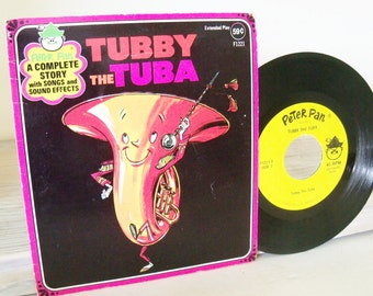 Tubby The Tuba Vintage Children's Record Peter Pan Records 45RPM Extended Play Story Songs Sound Effects F1221 Peter Pan Players 1950s