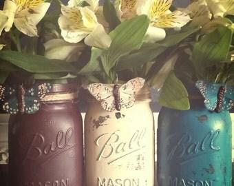 Butterfly Embellished 3 pc Pint Size Ball Mason Jar Vases