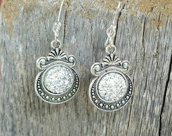 Druzy Drusy Earrings, Sparkling Silver Druzy Dangle Earrings,Drusy Jewelry, Leverbacks, Very Sparkly and Trendy!