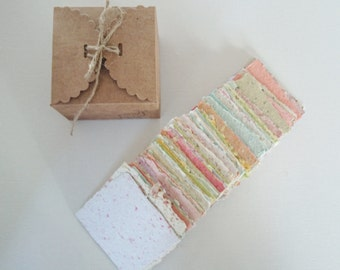 Handmade Note Paper, Boxed, Hand Torn Recycled Paper, 100 sheets.
