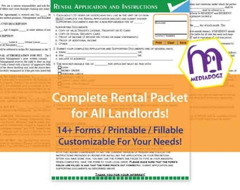 Complete Rental Packet PDF Forms Fillable Printable Landlord Package Renter Lease Agreement Kit