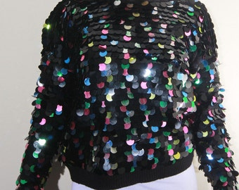80s NYE Disco Ball Vintage Sequin Sweater