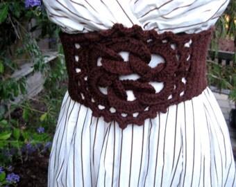 Crochet chocolate brown belt, celtic knot corset belt, bohemian accessory, crochet lace up belt, elegant dress accessory, crochet belt
