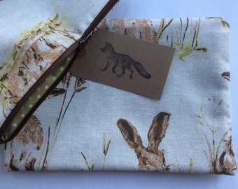 Large make up bag in a country hares design, handmade and fully lined.