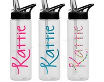 Personalized 24oz Water Bottle ~ Glitter ~ Lilly ~ Name ~ W24NO