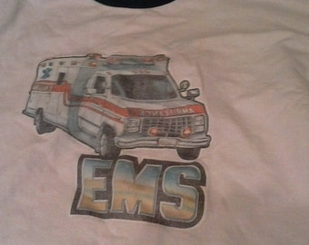 80's faded EMT RiNgEr T-sHiRt -L-