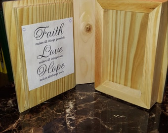 Handmade open book picture frame