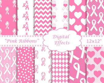 BREAST CANCER Digital Paper, Pink Ribbons, Pink & White Ribbons, Pink Heart Paper, Pink Chevron,Breast Cancer Awareness Clipart, 12x12 paper