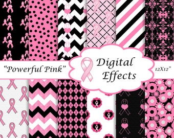 BREAST CANCER Digital Paper, Pink Ribbons, Pink White Black Paper, Pink Ribbons, Pink Chevron,Breast Cancer Awareness Clipart, 12x12 paper