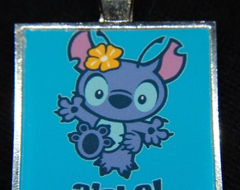 Disney Lilo & Stitch Aloha Hawaii Alien Silver Pendant Necklace Jewelry